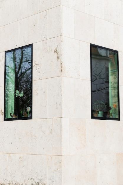 Janelas na fachada de prédios de escritórios Foto Premium