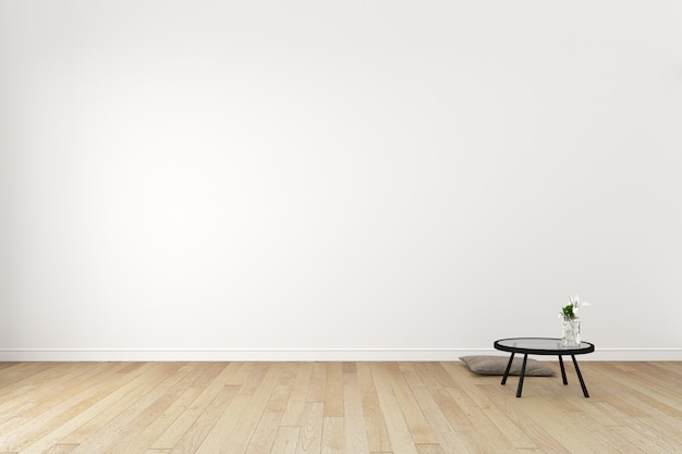 Japon s sala interior no fundo da parede branca vazia for Design minimalista