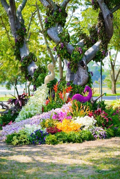 Jardim de flores é em forma de pavão Foto Premium