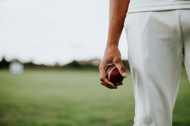 Jogador de críquete segurando uma bola de couro Foto gratuita