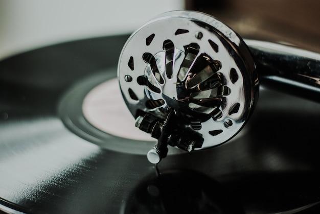 Jogador de gramofone close-up Foto Premium