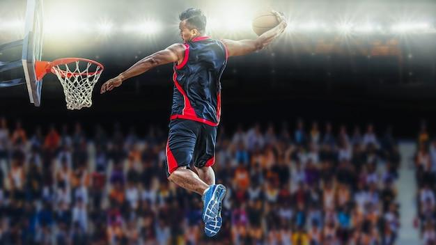 Jogador do asketball marcando um tiro atlético do afundanço Foto Premium
