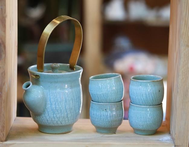 Jogo da xícara de chá Foto Premium