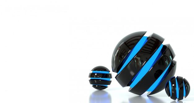 Jogo de esferas fantásticas abstratas em um fundo branco. renderização 3d. Foto Premium