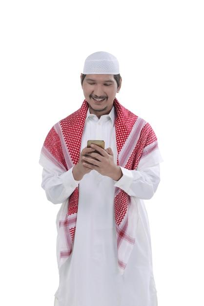 Jovem, asiático, muçulmano, homem, rezar, para, deus Foto Premium
