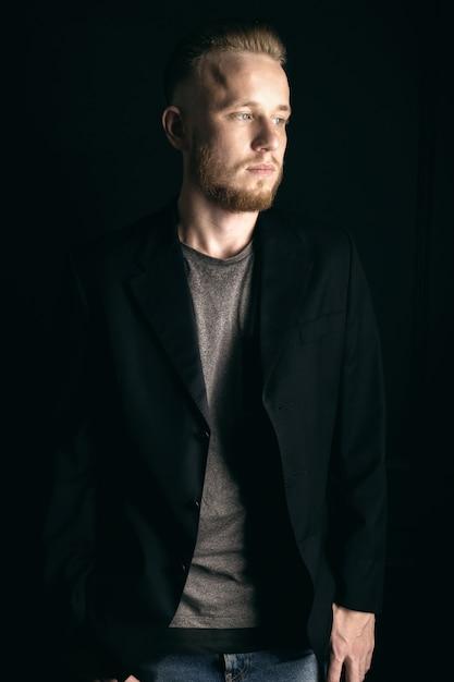 Jovem, barbudo, moda, homem Foto Premium