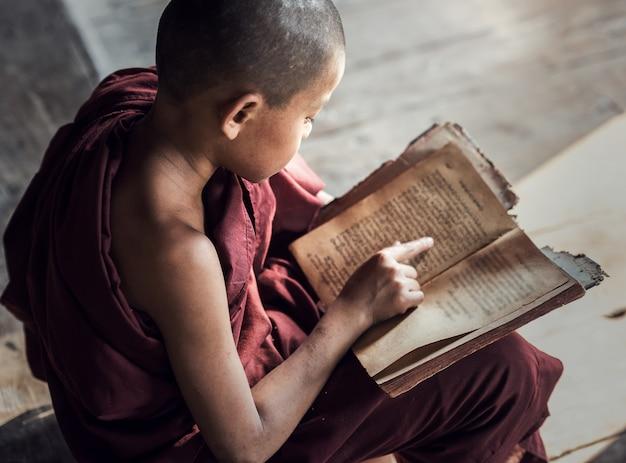 Jovem budista noviço monge ler e estudar no mosteiro, mianmar Foto Premium