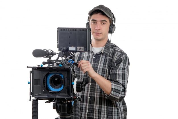 Jovem, cameraman, com, câmera filme Foto Premium