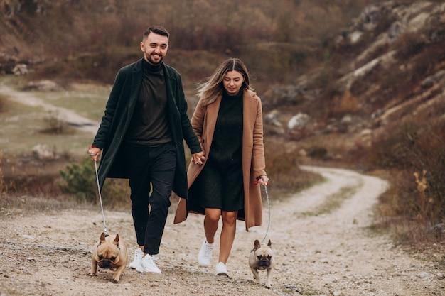Jovem casal andando seus bulldogs franceses no parque Foto gratuita