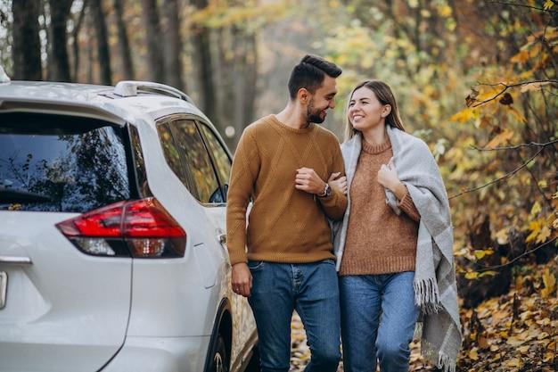 Jovem casal junto no parque de carro Foto gratuita