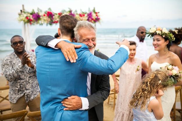 Jovem, caucasiano, par, casório, dia Foto Premium