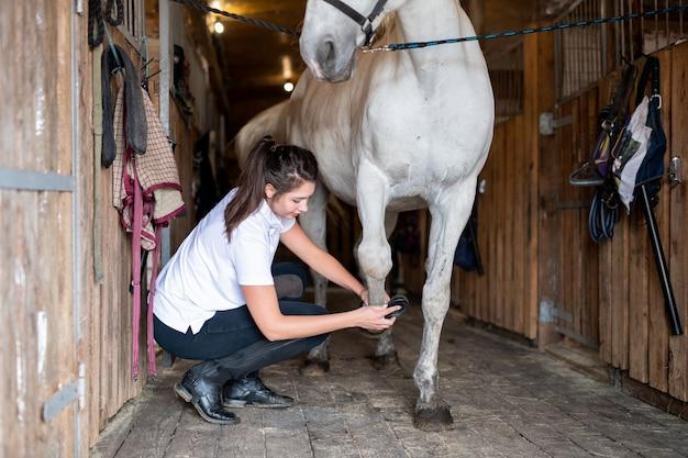 Jovem cuidadora em roupa casual, limpando casco de cavalo de corrida de raça pura com uma escova especial dentro do estábulo Foto Premium