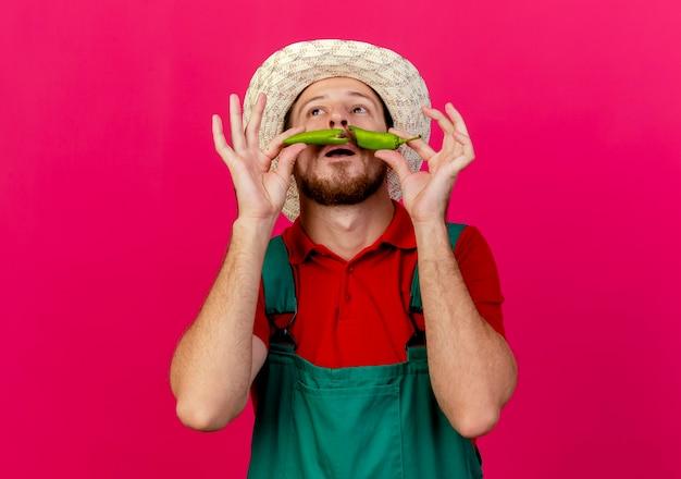 Jovem e bonito jardineiro eslavo de uniforme e chapéu segurando metades de pimenta acima da boca olhando para cima fazendo bigode falso Foto gratuita