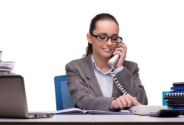 Jovem empresária no escritório isolado no branco Foto Premium