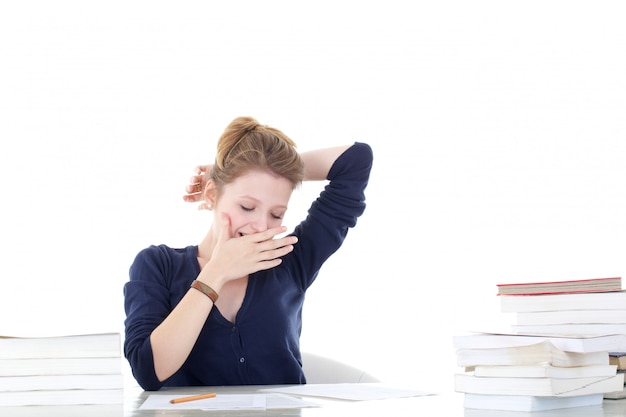 Jovem estudante estressado Foto Premium