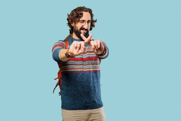 Jovem, hippie, homem, zangado, expressão Foto Premium