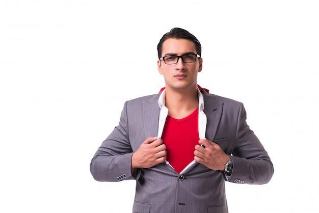 Jovem, homem negócios, desgastar, cobertura vermelha, branco Foto Premium