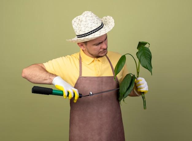 Jovem jardineiro vestindo macacão e chapéu em luvas de trabalho segurando uma planta, cortando-a com uma tesoura de sebes Foto gratuita