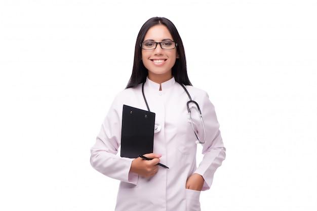 Jovem médico feminino no conceito médico isolado no branco Foto Premium