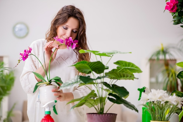 Jovem mulher cuidando de plantas em casa Foto Premium