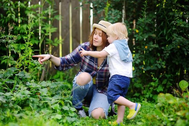 Jovem mulher e menino pequeno bonito da criança no jardim. família, aproveitando a colheita de verão. Foto Premium