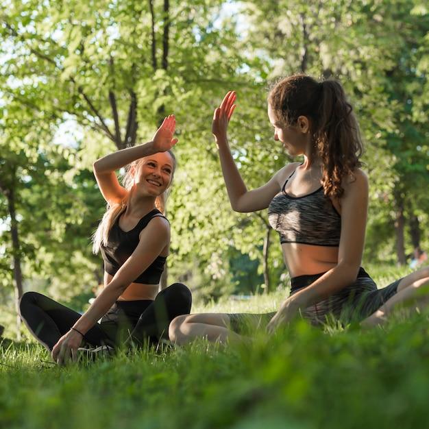 Jovens amigos fazendo yoga no parque Foto gratuita