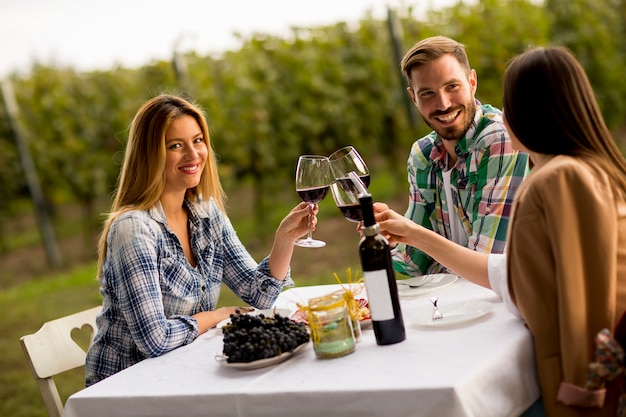 Jovens pela mesa na vinha Foto Premium