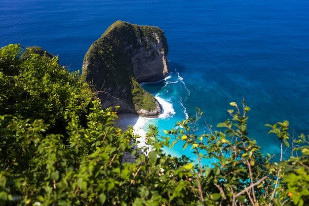 Kelingking praia na ilha de nusa penida na indonésia Foto Premium