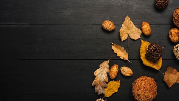 Kernels e folhas perto de bolas decorativas Foto gratuita