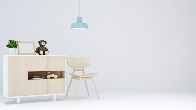 Kid room em sala branca para obras de arte - renderização em 3d Foto Premium