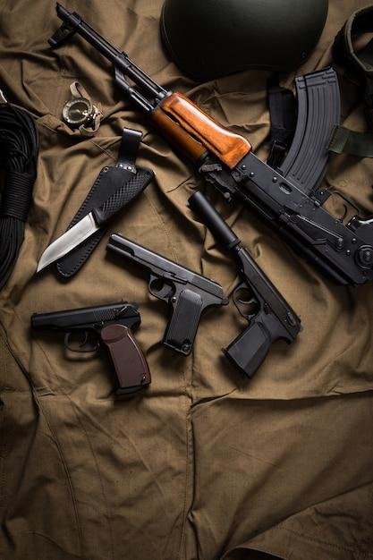Kit de equipamento militar moder rússia Foto Premium