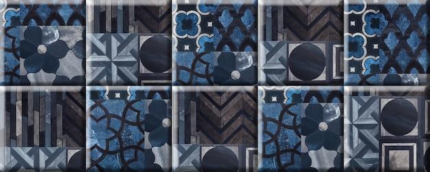 Ladrilhos azuis com um padrão e textura de mármore natural. elemento para decoração de parede. textura de fundo transparente Foto Premium
