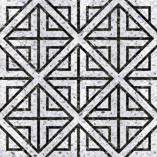 Ladrilhos de mármore natural preto e branco. padrão geométrico Foto Premium