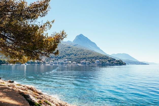 Lago ainda bonito com árvores e montanha Foto gratuita