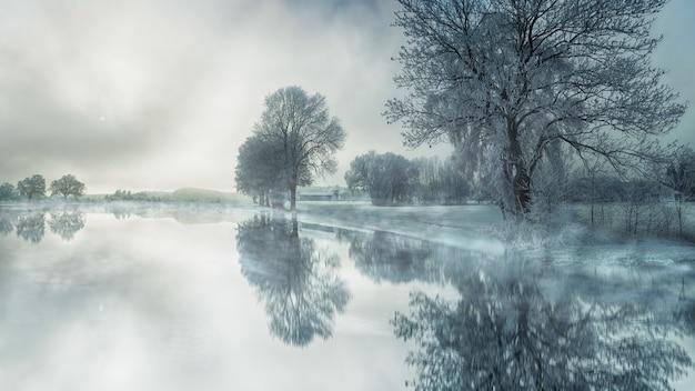 Lago congelado no inverno Foto gratuita