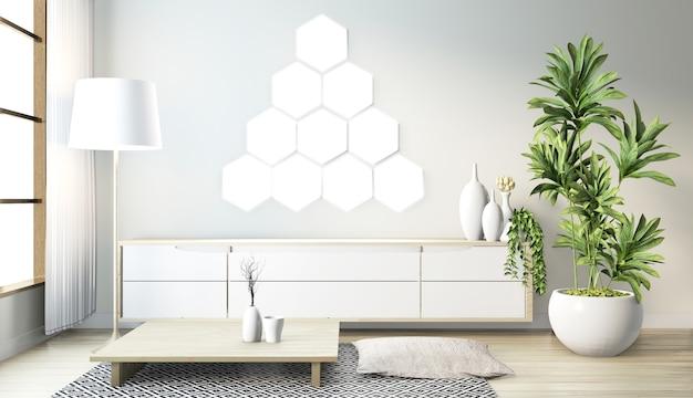 Lâmpada da telha do hexágono na parede e design minimalista do armário de madeira no estilo japonês moderno da sala do zen Foto Premium