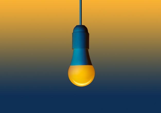 Lâmpada de poupança de energia led amarela. diodo emissor de luz em um fundo amarelo-azul Foto Premium