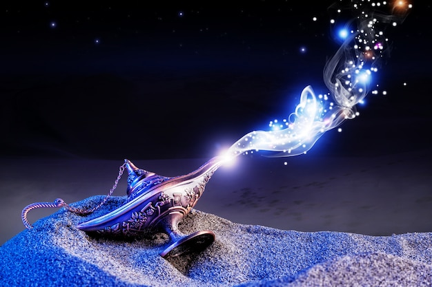Lâmpada mágica genie Foto Premium