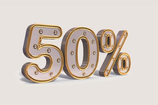 Lâmpadas de 50% de desconto, porcentagem de venda de promoção de ouro feita de 3d realista Foto Premium