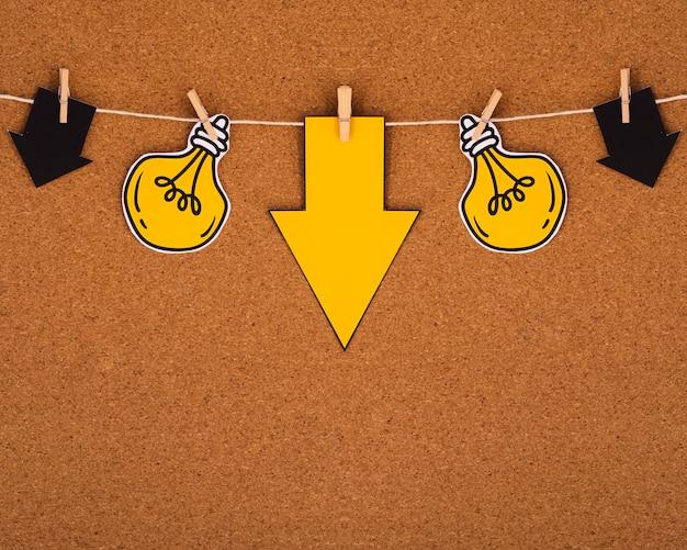 Lâmpadas minimalistas penduradas em uma corda Foto gratuita