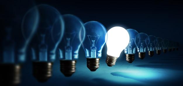 Lâmpadas no fundo azul, conceito de ideia Foto Premium