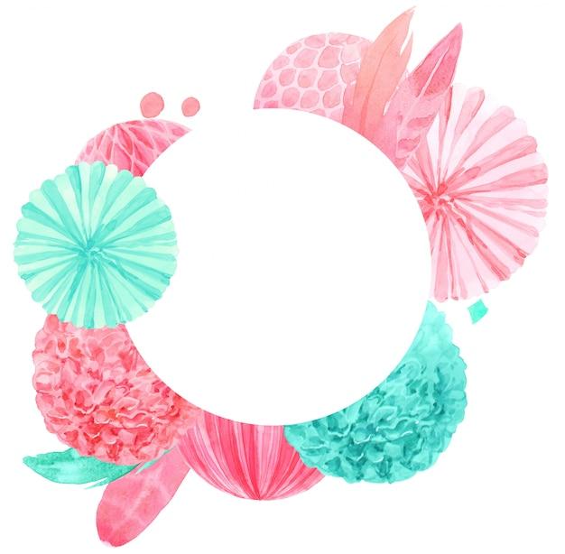 Lanterna de papel de hortelã e impressão em aquarela de penas cor de rosa para tecido Foto Premium