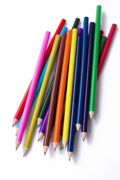 Lápis coloridos, isolados no branco Foto Premium