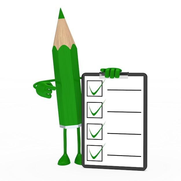 Lápis verde com um questionário positiva Foto gratuita