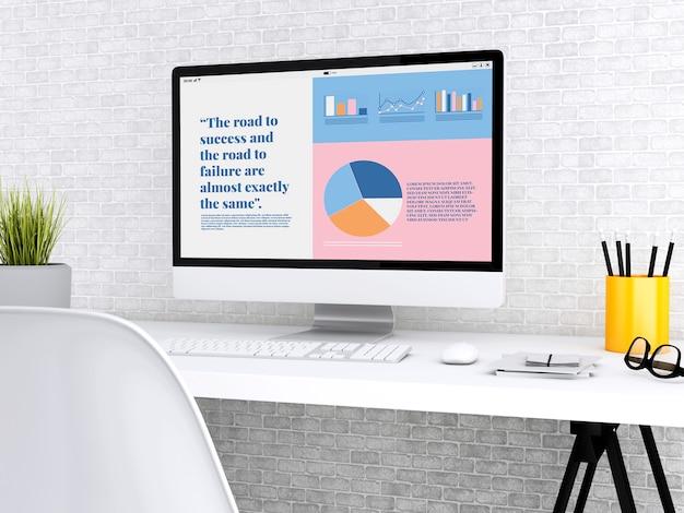 Laptop 3d mostrando informações gráficas sobre o crescimento da empresa Foto Premium