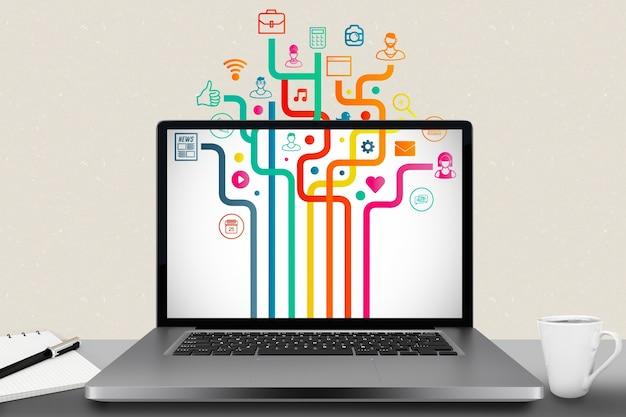 Laptop com diferentes aplicações instaladas Foto gratuita