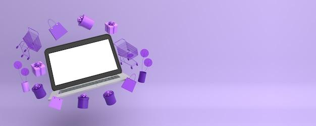 Laptop moderno com itens de marketing online Foto Premium