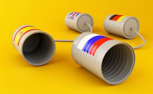 Lata de lata 3d telefones com bandeiras conectadas por seqüência de caracteres Foto Premium