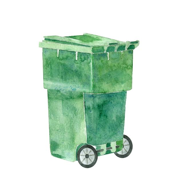 Lata de lixo de plástico verde Foto Premium