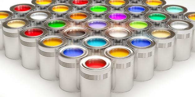 Latas com tinta Foto Premium
